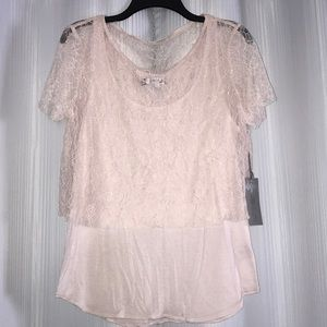 Pale pink lace top